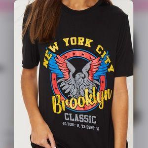 Black Brooklyn Printed Oversized T shirt, UK-M